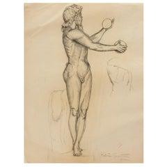 Drawing Schoolboy Black Mine, Signed Helen Sautin, 20th Century
