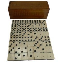 Boxed Set Antique English Bone and Ebony Dominoes, circa 1910