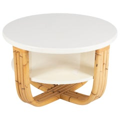 Bielecky Brothers Rattan and Cream Lacquer Cocktail Table
