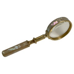 Fine Quality Antique English Brass and Mother-of-Pearl Magnifying Glass