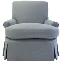 Scroll Back and Scroll Arm Club Chair with Loose Seat Cushion and Pleated Skirt