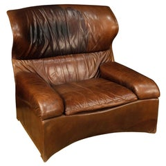 Saporiti Italia 20th Century Brown Leather Italian Design Armchair, 1970
