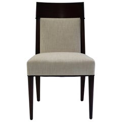 Mahogany Dining Sidechair with Carved Upholstered Back and Seat and Tapered Legs