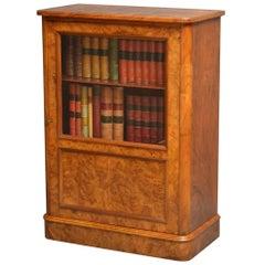 Elegant Victorian Burr Walnut Bookcase or Music Cabinet