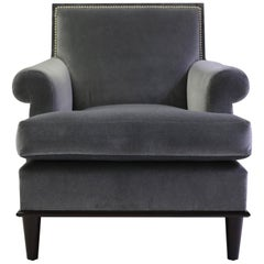 Club Chair with Nail Trimmed Square Back with Scroll Arms and Loose Seat Cushion