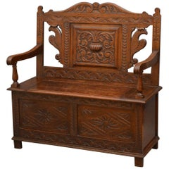 Victorian Oak Hall Bench, Box Settle