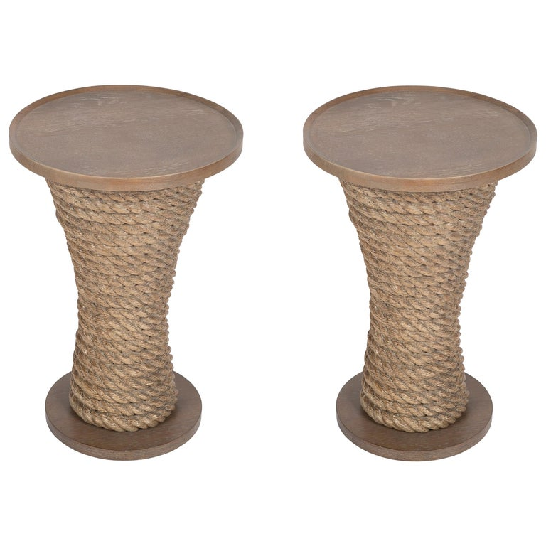 Pair of Contemporary Rope Drinks Tables