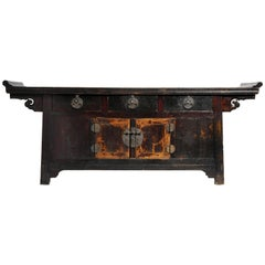 Chinese Altar Coffer with Dark Oxblood Lacquer with Original Patina