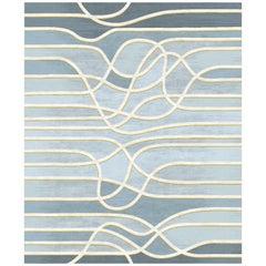 La Seine Au Crepuscule Contemporary Deep Blue Lines Pattern Wool and Silk Rug