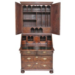 Burr Walnut Bureau Bookcase