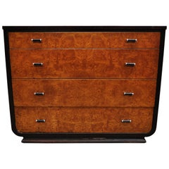 Steel Metal Art Deco Mahogany Painted Dresser by Norman Bel Geddes for Simmons
