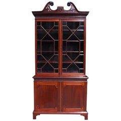 English Chippendale Mahogany Broken Arch Pedimant Fret Work Bookcase, Circa 1790