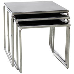 Set Glass and Chrome Nesting Tables