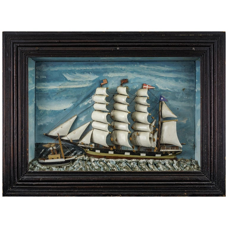 Ship Diorama of a Vessel in Rocky Seas