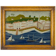 English Sailor's Woolwork of a Busy Harbour