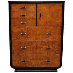 Steel Metal Art Deco Mahogany Painted Dresser by Norman Bel Geddes for Simmons A
