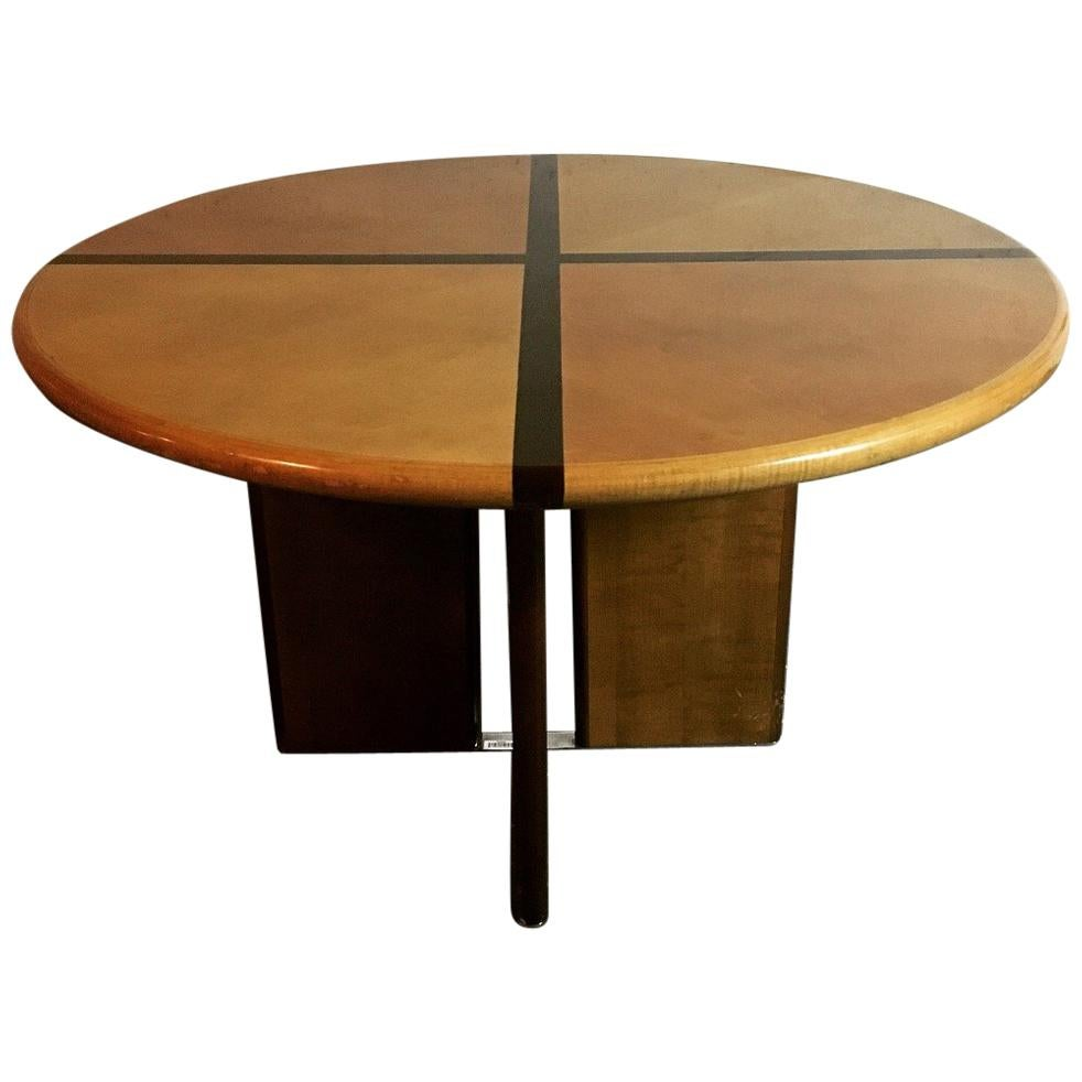 Cross French Vintage Round Dining Table, 1970s For Sale