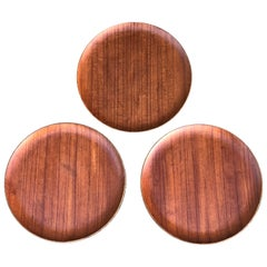 Three Teak Danish Modern Serving Trays