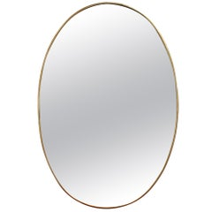 Midcentury Italian Wall Mirror with Brass Frame, circa 1950s
