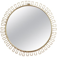 Round Wall Mirror in Brass with Decorative Surround by Josef Frank