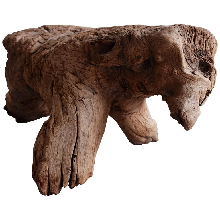 """Wooden """"Dog"""" Stool from Mexico"""