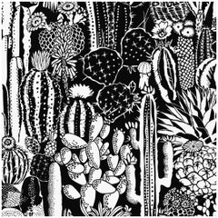 Cactus Spirit Type ii Eco-Friendly Wallpaper in Contrast 'Black and White'