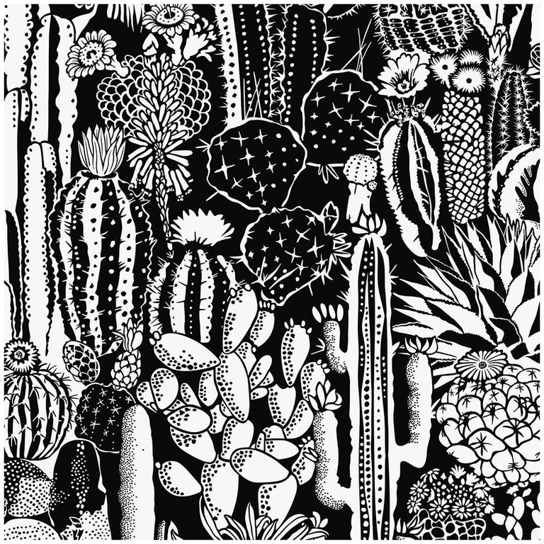 Cactus Spirit Type ii Eco-Friendly Wallpaper in Contrast 'Black and White' For Sale