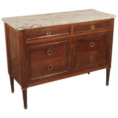 French Marble Top Mahogany Brass Inlaid Console/Cabinet