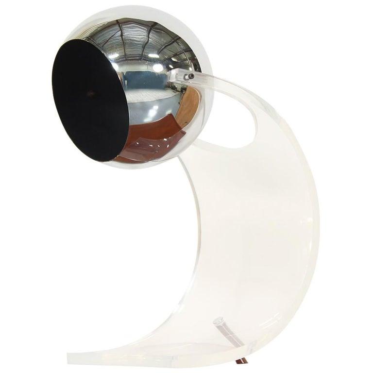Robert Sonneman Lucite and Chrome Orb Table Lamp