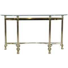 Italian Midcentury Transitional Paw Foot Brass and Glass Console Table