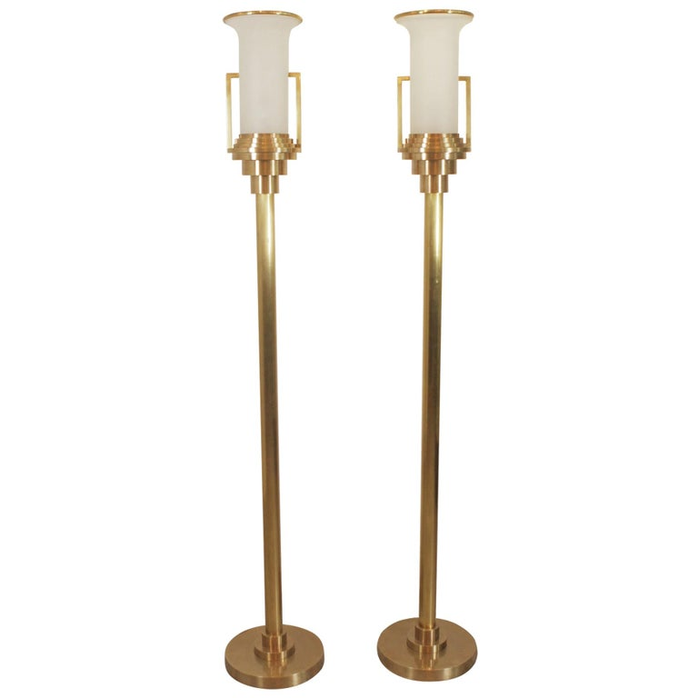 Pair of Modern Brass Torchere Floor Lamps