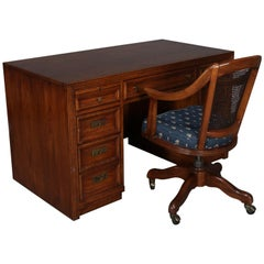 Thomasville Double Pedestal Oak Campaign Desk with Chair, 20th Century