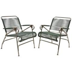 Pair Surfline Surf Line Green Vinyl Strap Metal Folding Chairs Pool Armchairs