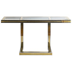 Midcentury Italian Brass, Chrome and Glass top Console Table by Romeo Rega