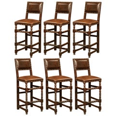 19th Century French Carved Oak Barstools Set with Back and Original Leather