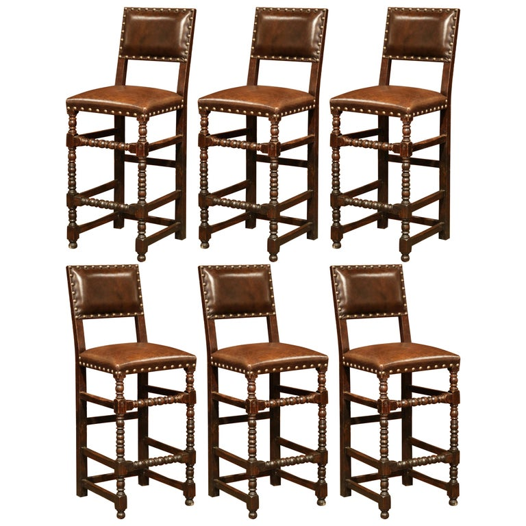 19th Century French Carved Oak Barstools Set With Back And