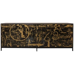 Duncan Credenza, Hand Painted Art Door Cabinet by Morgan Clayhall