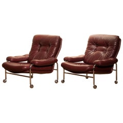 1970s, Chrome and Red Leather Easy or Lounge Chairs by Scapa Rydaholm, Sweden