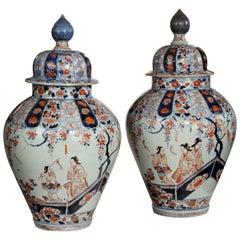 Rare Pair of Early Edo Period Imari Vases and Covers