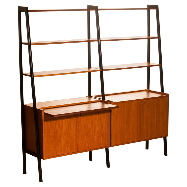 1950s, Teak Swedish Double Bookcase or Secretaire with Black Stands
