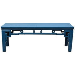 Blue Chinese Spring Bench, Antique in Modern Finish