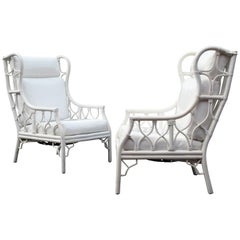 Pair of Large-Scale Chinese Chippendale Style Wingback Rattan Chairs