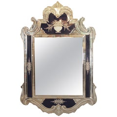 20th Century Venetian Style Cobalt Blue Etched Mirror