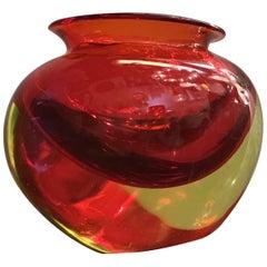 Flavio Poli Vase Murano Glass Red Orange, 1950