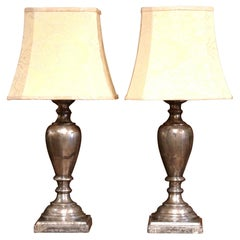 Large Pair of Italian Carved and Silvered Double-Light Table Lamps