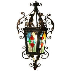19th Century, French Napoleon III Iron Lantern with Painted Stained Glass Panels