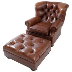 Ralph Lauren Iconic Writer's Chair & Ottoman in High Quality Brown Leathera