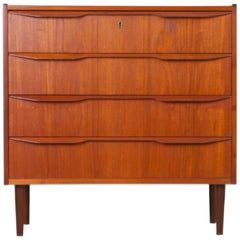 Danish Modern Five-Drawer Teak Highboy Dresser by Gunnar Nielsen Tibergaard