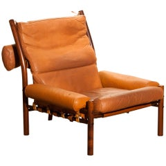 "1968, Cognac Leather Safari Chair ""Inca"" by Arne Norell Möbler AB, Sweden"