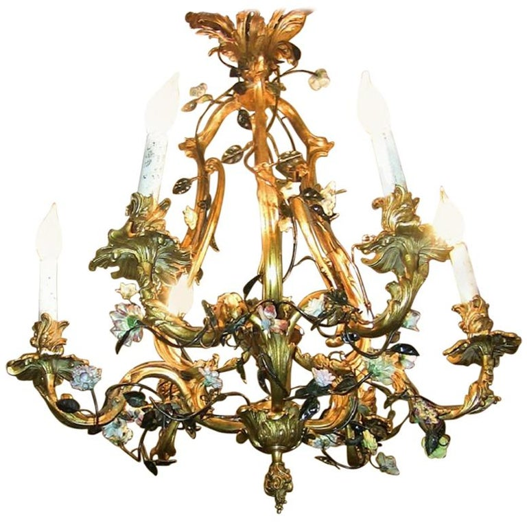 19th Century French Gilt Bronze Chandelier with Porcelain Flowers